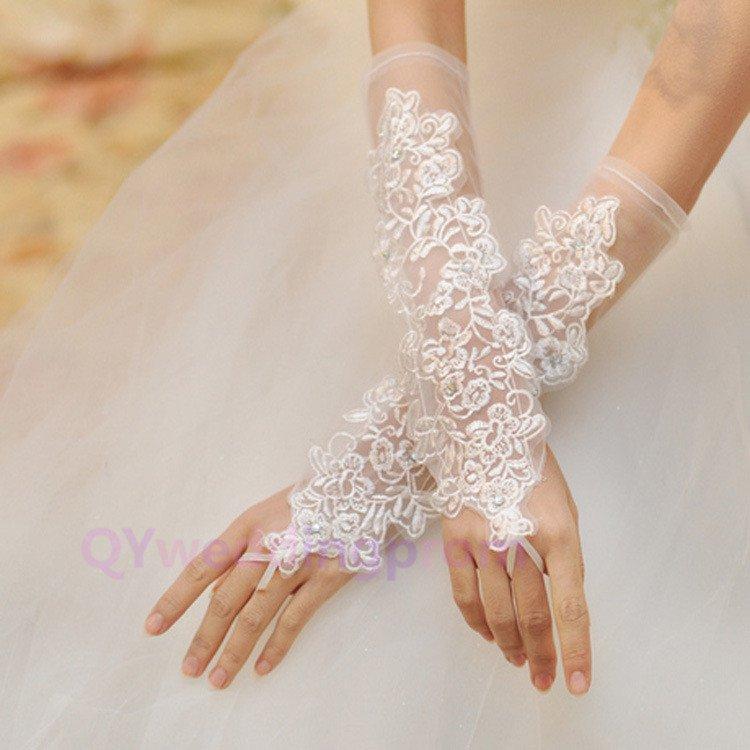 new bride wedding gloves hook finger gloves embroidered wedding decorations