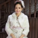 Long-haired long-sleeved white dress new winter thick warm wool shawl bride shawl