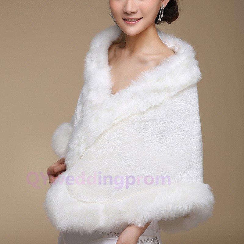 Off-white long plush thick warm winter warm cloak shawl bride
