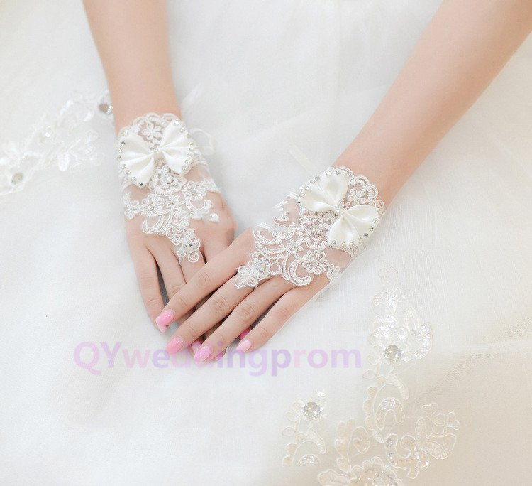 short section of the bride wedding lace bow rhinestone bridal veil lace gloves
