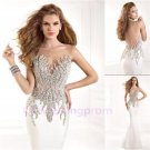 2015 Sheer Mesh Prom Dresses Sexy Mermaid Long Formal Evening Ball Party Gown