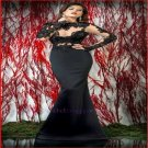 2015 Mermaid Lace Long Sleeve Evening Dresses Backless Lace Vetage High Neck