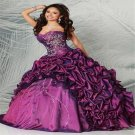 New Purple Taffeta Prom Dress Formal Party Gown Sweetheart