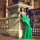 Mermaid Cap Sleeve Green Satin Shining Beading Long Prom Dresses