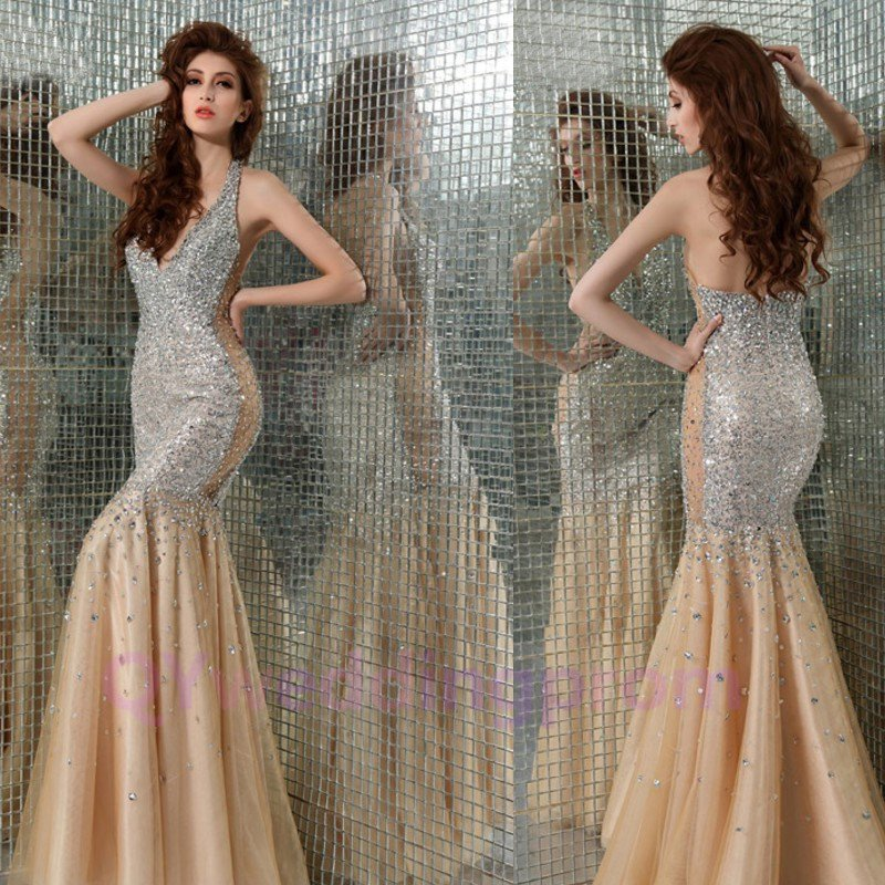 Custom made Champagne Dark V-neckline Evening Dresses 2015 NEW Prom Gowns
