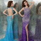 Custom made for Train Crystal Long Formal Evening Dresses 2015 Party Gowns