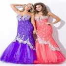 Hole Fishtail Pink Purple Mermaid Trumpet Prom Gown Party Senior Cocktail Dress