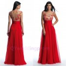 New A Line Scoop Neckline Red Chiffon Empire Waists Evening Dress