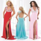 Custom Made Appliques Sexy V Neck Cap Sleeve Full Length Long Side Slit Backless Evening Dress