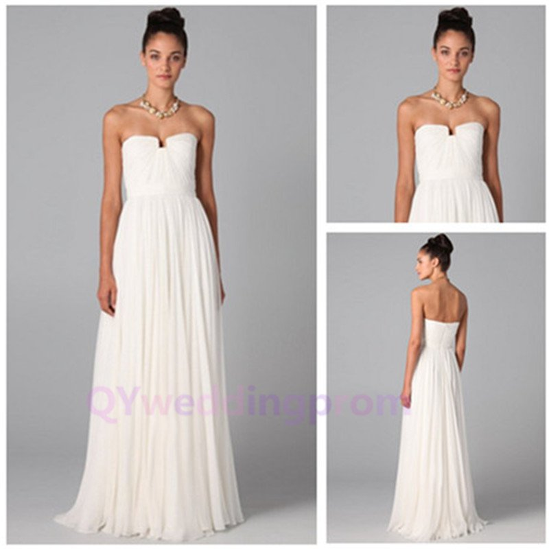 Elegant Strapless Straight White Chiffon Long Evening Dresses New Fashion 2015