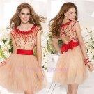 A Line Short/Mini Cap Sleeve See Through Sweetheart Neckline Red Belt Short Evening Dress