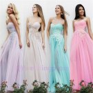 Newest Mix Color And Color Simple But Elegant Sweetheart Neckline Chiffon Evening Dress