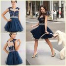 2015 A Line Scoop Neck Cap Sleeve See Through A Line Dark Blue Custom Made Short Prom Dresses