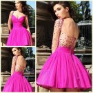 A Line Sweetheart Neckline Backless Sexy Beaded Short Backless Dress Long Sleeve For Prom
