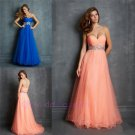 Sweetheart Beaded Empire A Line Tulle Pleated Floor Length Pink Blue Tulle Prom Dress