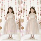 Elegance Sequins Flower Girl Dresses High Neck Bow Tie  Custom Size Evening Dress Girl Child 2015