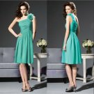 Country Style Short Mini Chiffon Green One Shoulder Pleated Ruched Bridesmaid Gowns