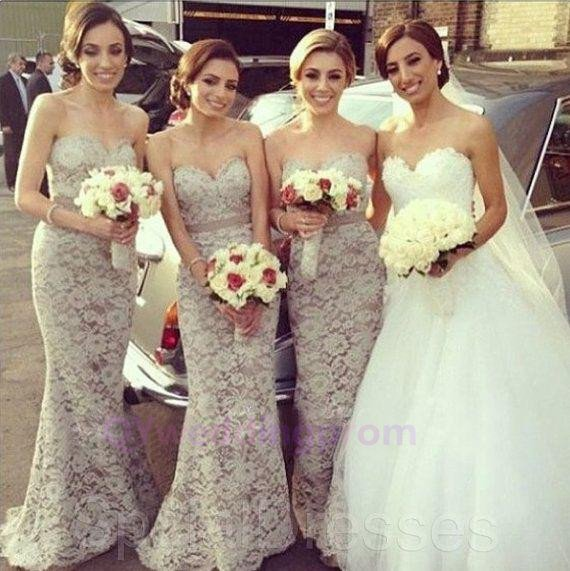 Beautiful Good New Sweetheart Neck Floor Length Patterns Lace Bridesmaid Dress