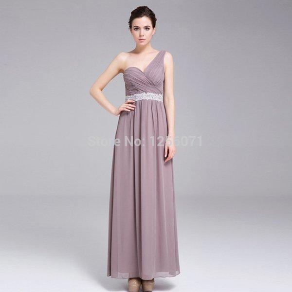 2015 New women chiffon One shoulder bridesmaids dress long evening dress custom size color