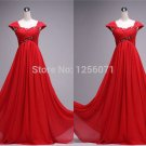 2015 New women red beaded chiffon prom dress cocktail dress long evening dress custom size color