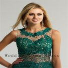 2015 New Fashioned Green Most Popular Elegant Lace And Appliqued Scoop Long Evening Dress
