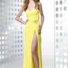 Sexy Long Yellow Chiffon A-Line Sweetheart Backless Split evening dress