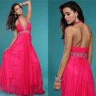 Sexy floor length Halter Chiffon Red Evening Dress A-Line Long evening Dresses