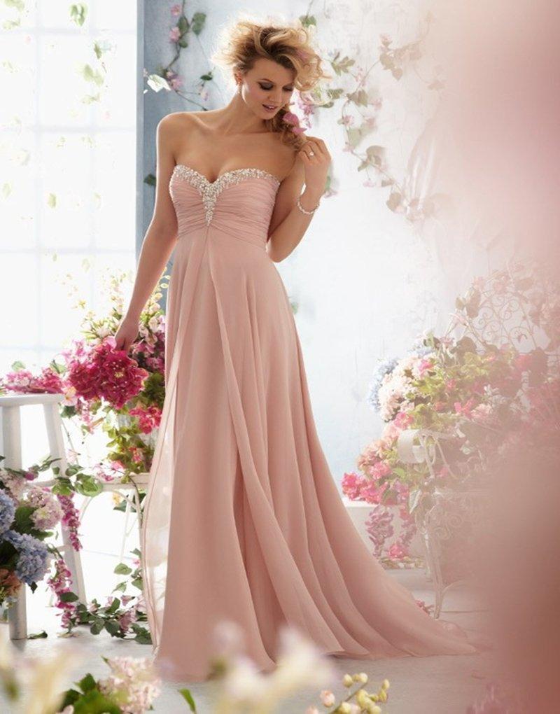 New Evening Dress A-Line Sweetheart Backless Pink Crystal Long Chiffon evening Dresses