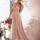 New Evening Dress A-Line Sweetheart Backless Pink Crystal Long Chiffon evening Dresses