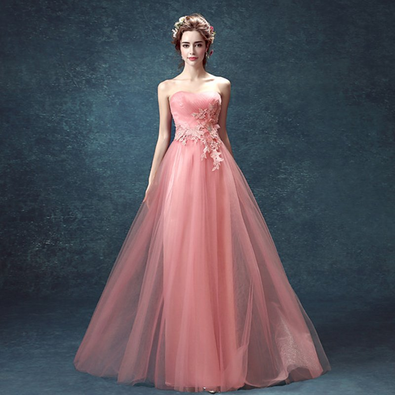 Pink Tulle Sexy Evening Dress Sweetheart floor length long evening Dresses