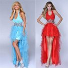 New Red evening Dresses Crystal Backless Evening Dress Long short evening Dresses