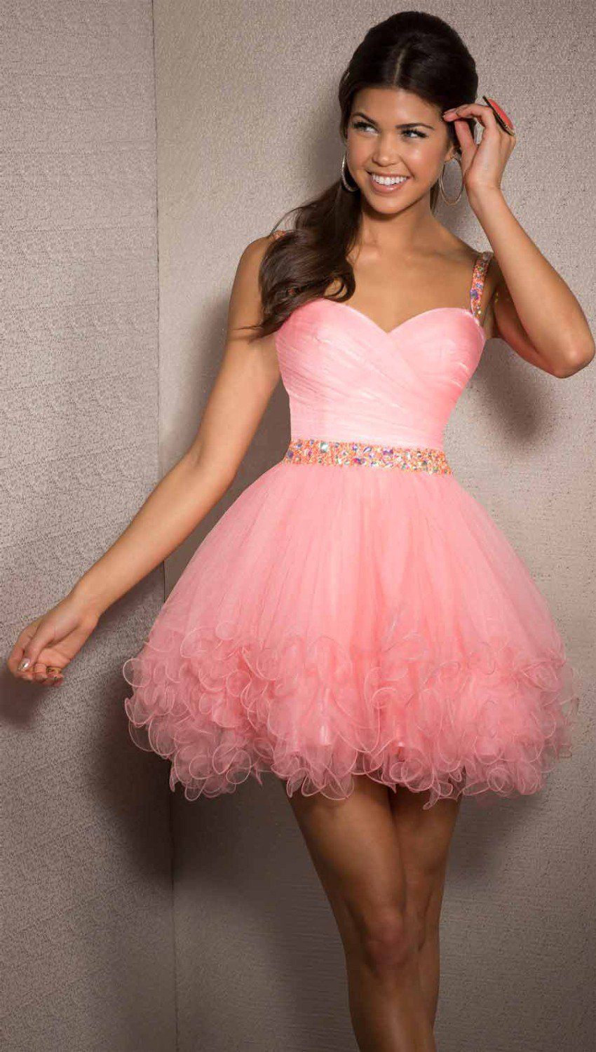 New Evening Dress Crystal Beaded Pink Tulle Backless A-Line custom Size Short evening Dresses