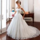 White Long Lace Wedding Dress A-Line Romantic Bride Dresses Backless Wedding Dress