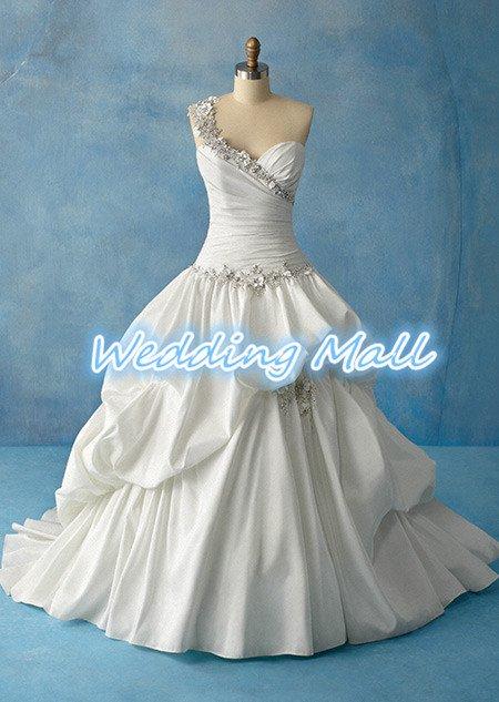 Real Photo New Brand Dress Designer One Shoulder Sweetheart Long Appliques Bridal Wedding Dress