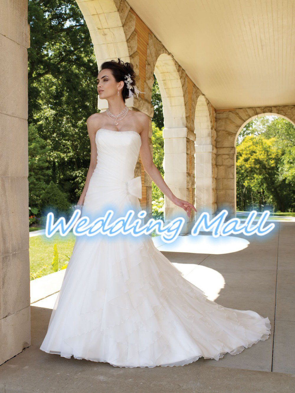 A-Line Strapless Floor Length Ruched Organza Train Taffeta Plus Size White Wedding Dress