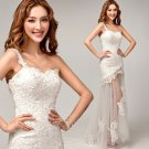 Fashionable White Lace A-Line Sweetheart One Shoulder Floor Length Long Wedding Dresses