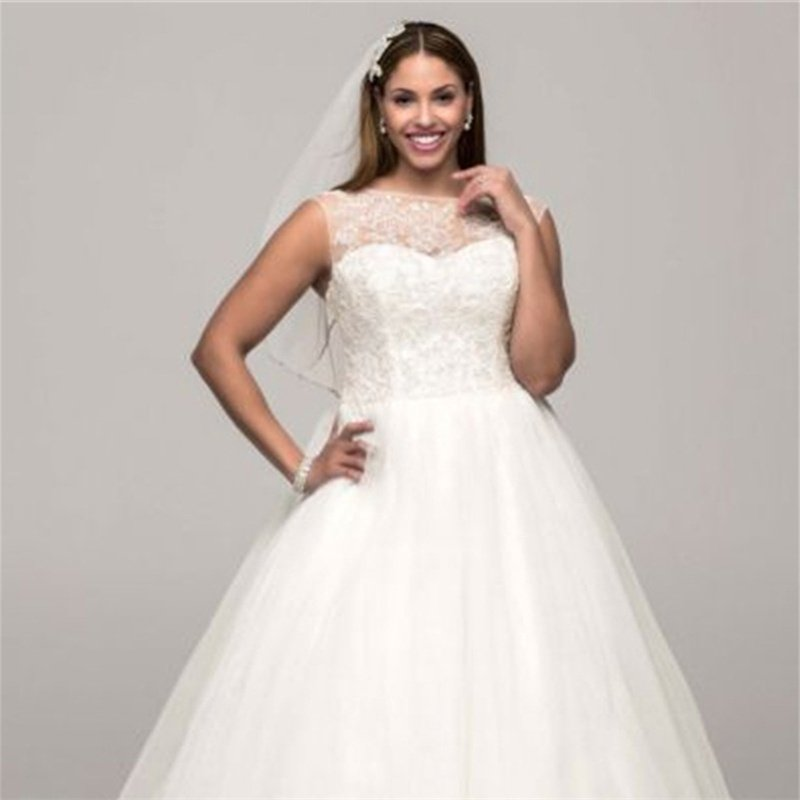 New Wedding Bride Dress Fashion A-Line Appliques Lace Wedding Dress Custom Wedding Bride Dresses