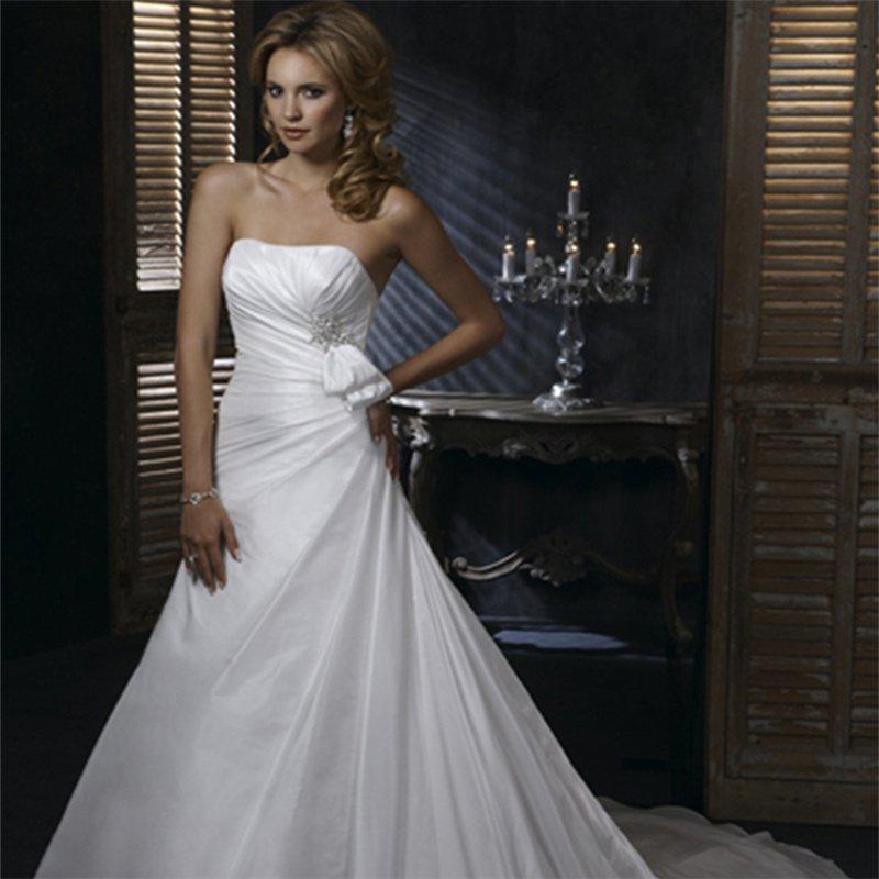 2016 White Wedding Dress Fashionable Long Chiffon Lace Up Sleeveless Bride Wedding Dresses