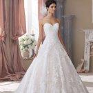 Sexy Backless Long Wedding Dress A-Line Sweetheart Long White Lace Long Bride Wedding Dresses