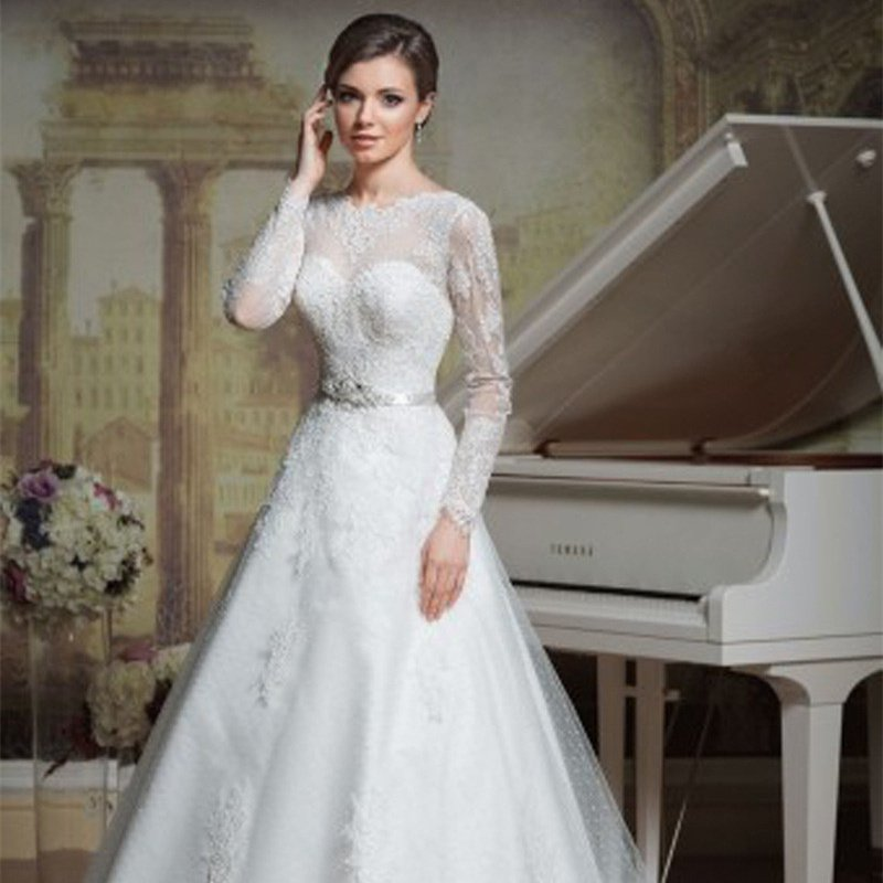Sexy Backless Lace A-Line Lace Wedding Dress Long Sleeve Custom Size White Wedding Dress