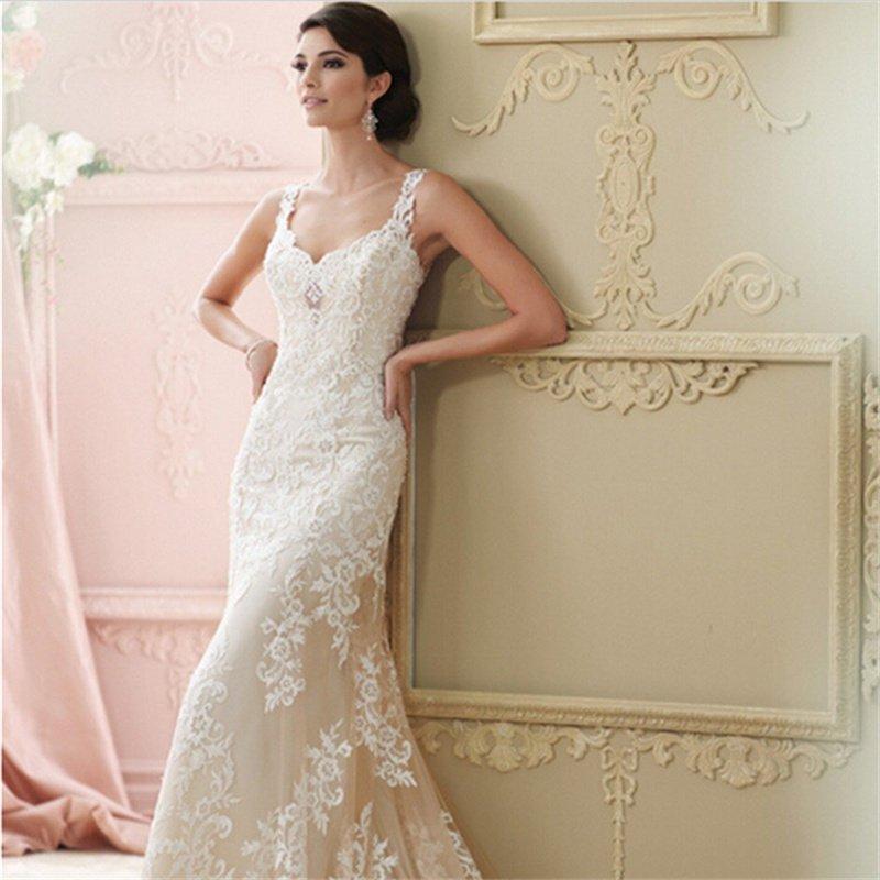 Champagne Lace Wedding Dress Sweetheart Spaghetti Straps Custom Size Long Mermaid Wedding Dresses