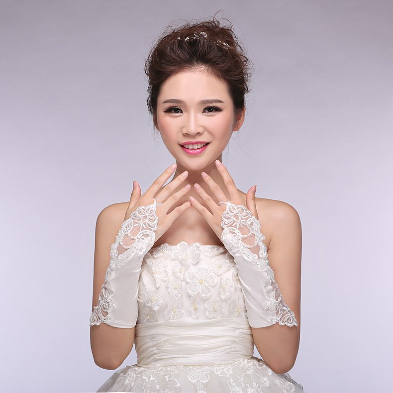 new Korean chiffon lace bridal gloves married gloves white short paragraph Spring Accessories