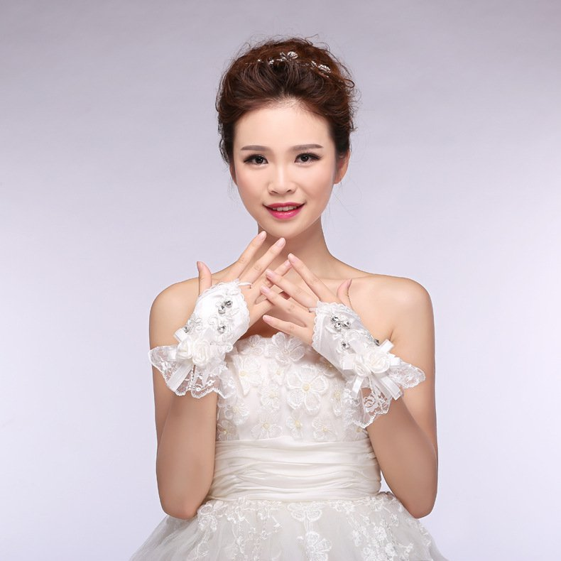 bridal lace bow spring summer chiffon short paragraph wedding gloves white Wedding Accessories
