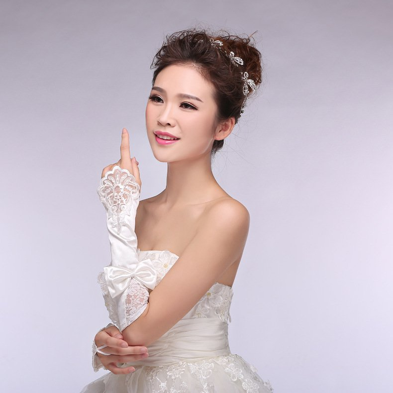 new bride wedding gloves bridal lace chiffon short paragraph Spring Wedding Gloves white accessories