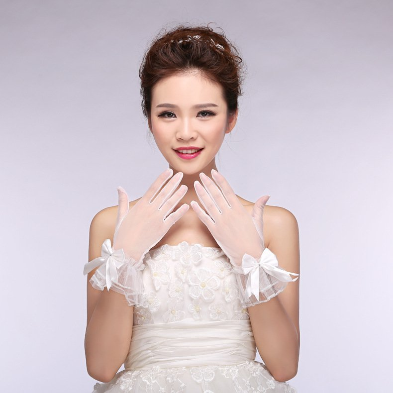 new spring summer bridal lace chiffon short paragraph bride married gloves white accessories