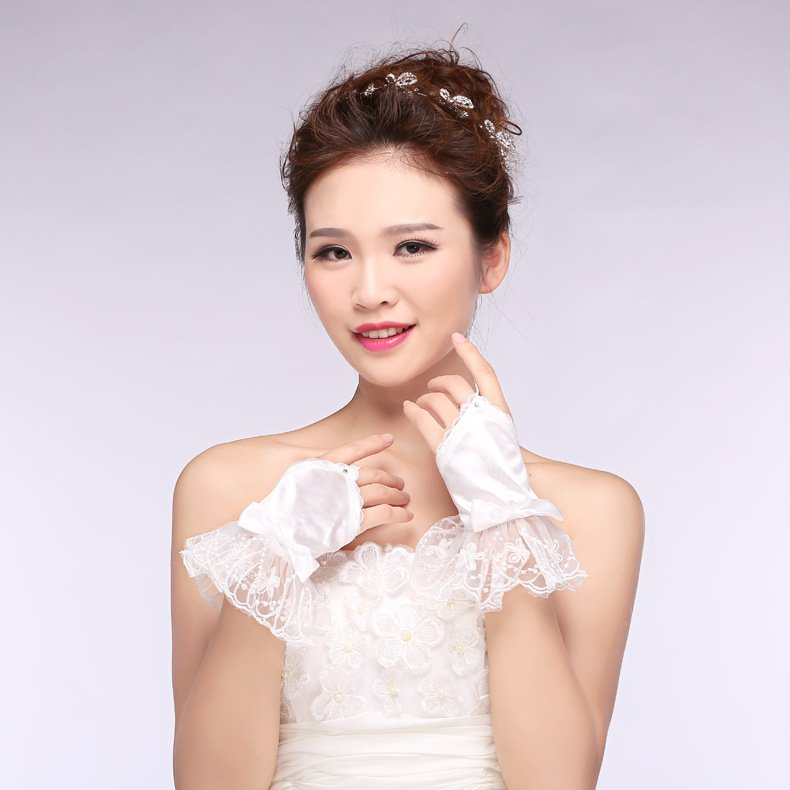 new bridal lace gloves new spring summer short paragraph chiffon white wedding gloves accessories