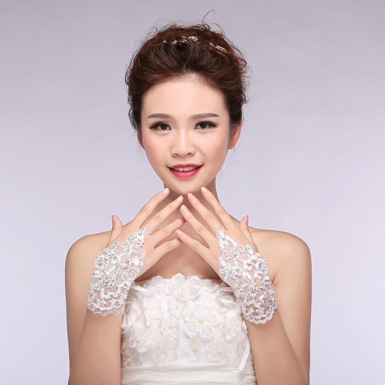 New bridal lace chiffon short paragraph wedding Accessories knot white gloves