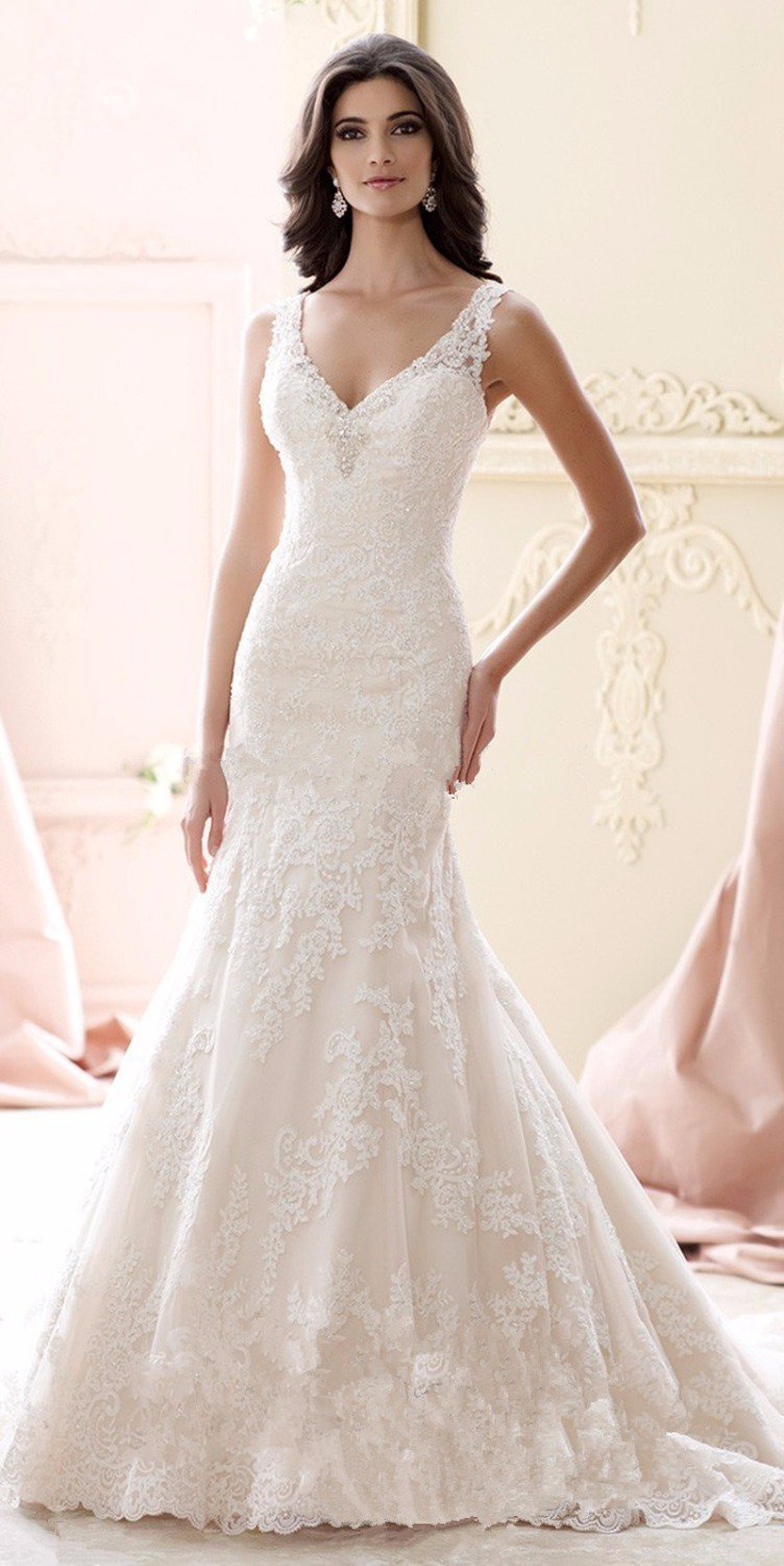 Sexy V-neck Mermaid Wedding Backless Beads Romantic Champagne Long Lace Wedding Dress