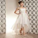 White Short Wedding Dress Pearls Tulle Sexy A-Line Backless Fashionable Tea Length Wedding Dress