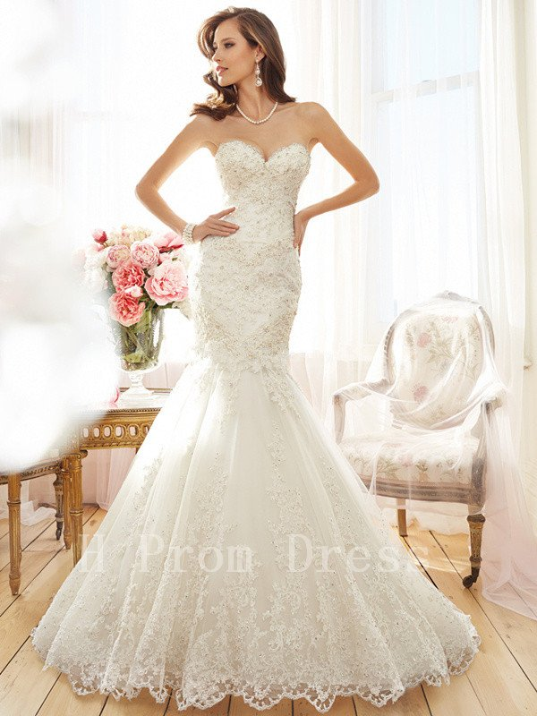 New Custom Made High Quality Sexy Beads Sweetheart White Ivory Long Mermaid Lace Wedding Dress